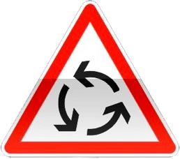 Panneau signalant un giratoire.